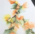 maleri grøn orange gul