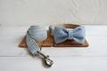 Halsbånd, line og sløjfe i en lys blå farve, med beige bagside 1