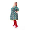 Jersey kjole i prinssese snit, til plus size kvinder, med fedt blomsterprint.