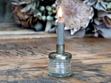 Glas m. skruelåg med holder til kertelys, fra Chic Antique