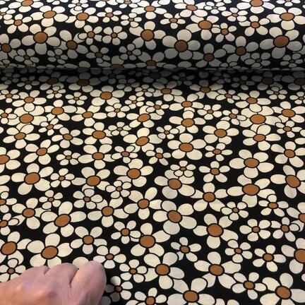 Bomuldsjersey med print af retro marguritter