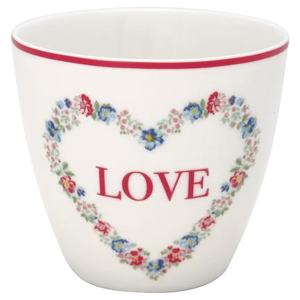GreenGate Latte cup, Heart love white
