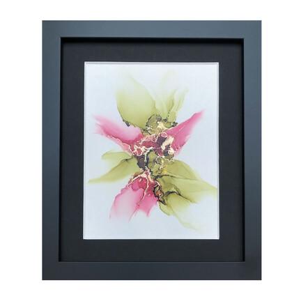 ink maleri grøn rosa