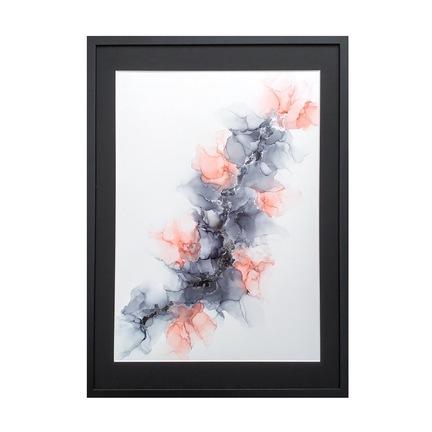 grå lyserød maleri 50x70