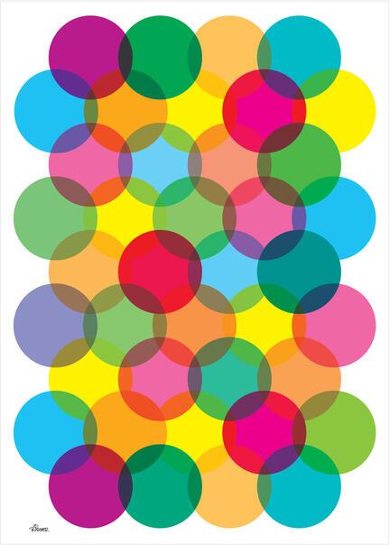 Big dots circles colour poster graphic danish design art print plakat © Birger Bromann