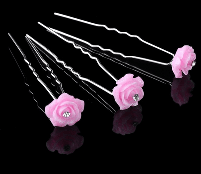 Lyserøde-hårnåle-6cm-Smukke Lyserøde Rose Hårnåle 2 pk med krystaller