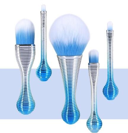 Makeup Pensel Sæt Metallic Blå 5 pensler