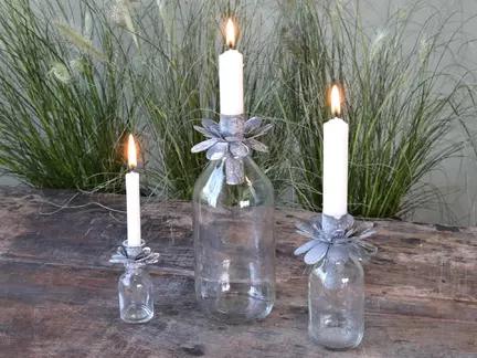 Flasker med lysholder til bedelys og kertelys