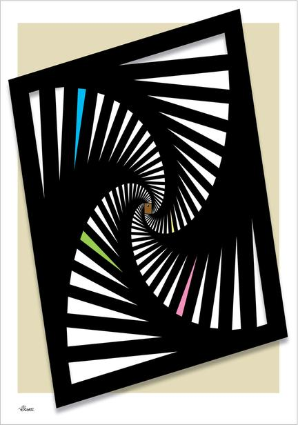 Rectangular lines hypnotic illustration graphic art poster ©Birger
