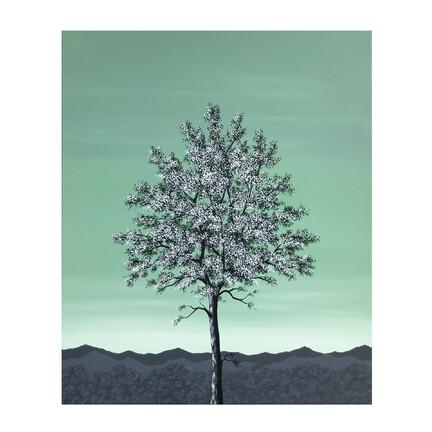 Maleri træ grøn hvid 50x60cm