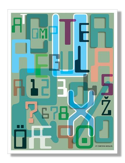 Computer regular olive font Klausen design typoart poster plakat art work webshop