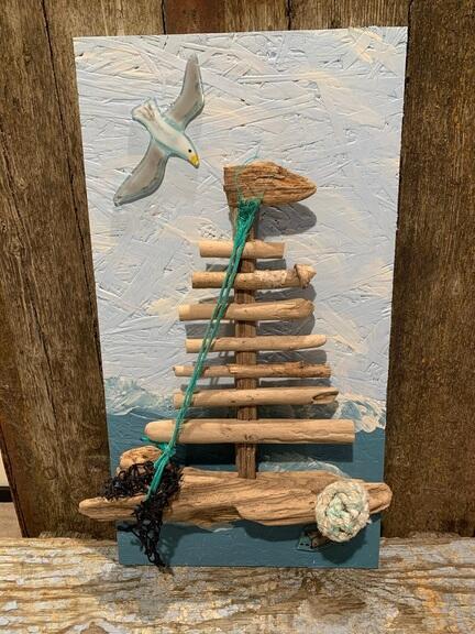 Sejlskib i drivtømmer til ophæng
