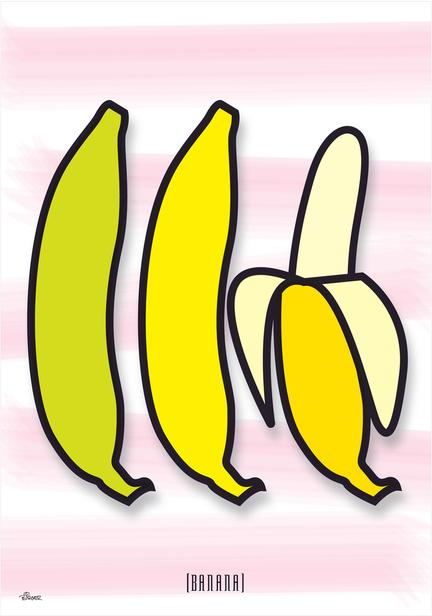 banan banana brush vegetable fruit colour Poster plakat ©Birger www.artprintandmore.dk