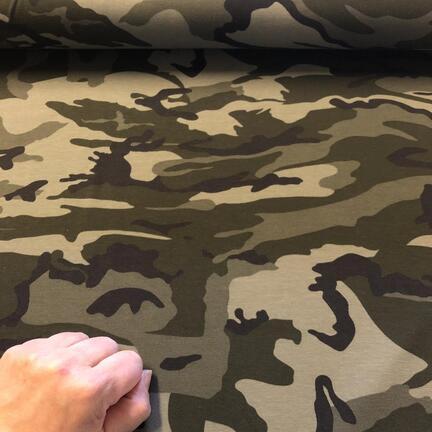 Bomuldsjersey med camouflageprint, til fede, personlige kjoler i store størrelser