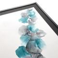blå sølv maleri i ramme
