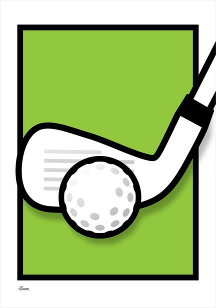 Golf iron jern green graphic colour Poster plakat ©Birger www.artprintandmore.dk