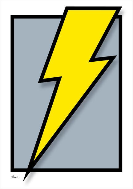 flash zap lightning lyn torden graphic colour Poster plakat ©Birger www.artprintandmore.dk