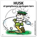 Golf-etikette skilte med sjov streg 15x15 cm farve på Magnetfolie