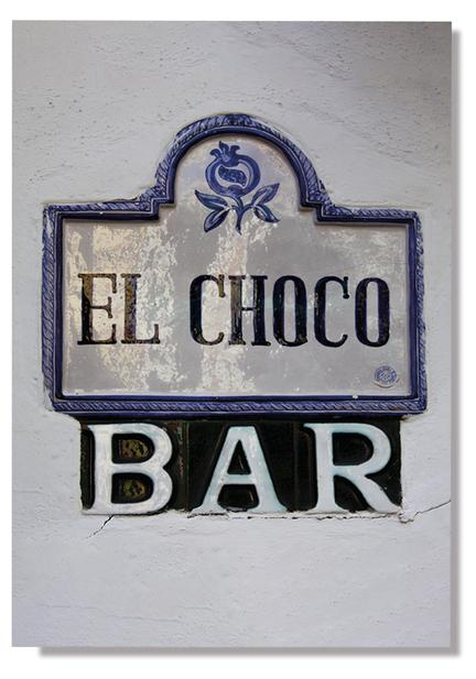 glaced Old stone ceramic street sign wall el choco bar photo poster plakat webshop
