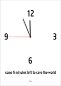 some 5 minutes left to save the world clock poster plakat ©Birger