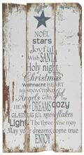Juleskilt med juletekst, hvid