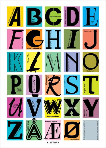 abc font  alphabet alfabet Klausen design type typo art poster plakat art work webshop sale