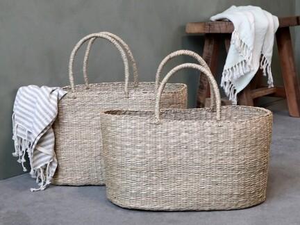 Strandtaske i flettet søgræs, to størrelser