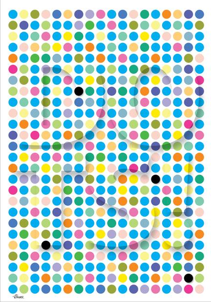 Mix colour blue dots illustration graphic art poster plakat ©Birger danish design