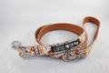 Halsbånd, line og sløjfe med vinterprint og orange bagside 14