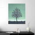 grøn hvid maleri 50x60cm