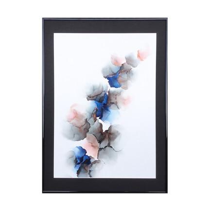 Stort maleri blå lyserød grå