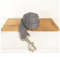 Halsbånd, line og sløjfe i grå med hvide tern og grå bagside 5