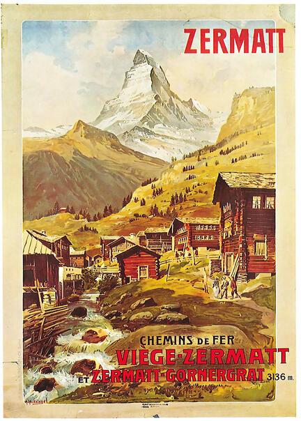 fotomester plakat turist matterhorn zermat gornergrat