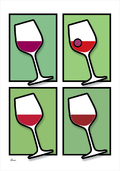 Wine vin glass glas colour GREEN Poster plakat ©Birger www.artprintandmore.dk