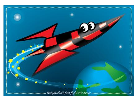Space rocket funny illustration