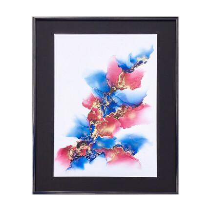 maleri 40x50 blå rosa guld