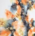 maleri 60x120 orange grå guld