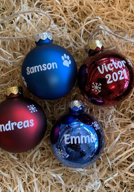 Julekugler glas med navn