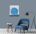 Maleri blåt træ. 50x60cm.