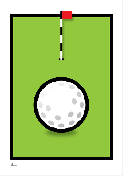 Golf hole flag green graphic colour Poster plakat ©Birger www.artprintandmore.dk
