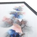 Stort maleri lyserød blå grå