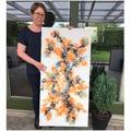 maleri 60x120 cm orange guld