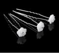 Smukke hvide Rose Hårnåle 2 pk med krystaller