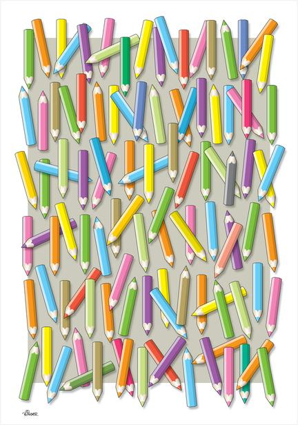 colour pencils blyanter plakat kunst poster art print Birger Bromann