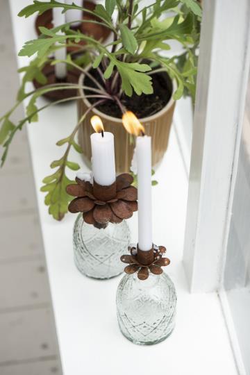 Lysindsats til kertelys, blomst i rustfarve