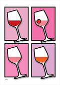 Wine vin glass glas colour PINK Poster plakat ©Birger www.artprintandmore.dk