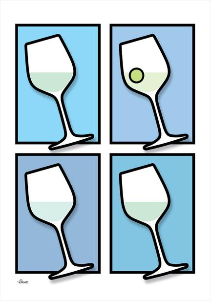 Wine vin glass glas colour BLUE Poster plakat ©Birger www.artprintandmore.dk