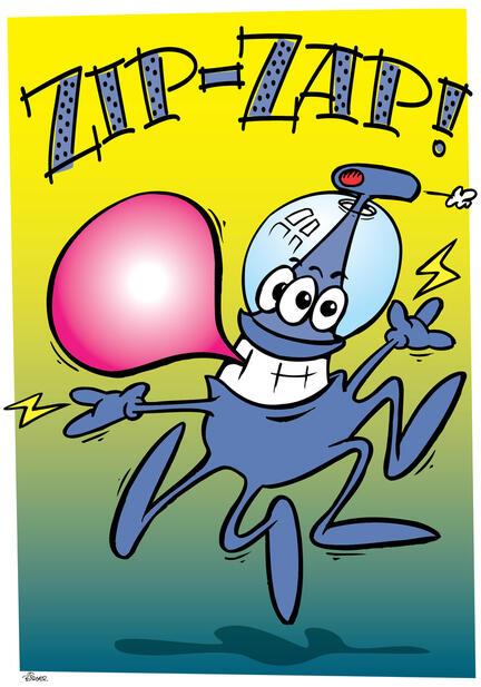 Zip cartoon hand drawn tegnet poster