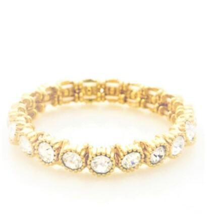 Tennis Armbånd med krystaller guld-sort-sølv-guld-sort