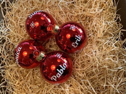 Julekugler plastic med navne